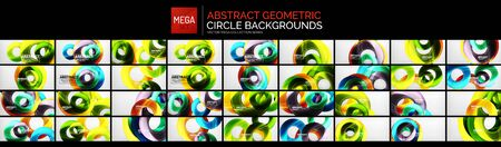 Mega set of circle shape design vector backgrounds. Glossy colors with light effects techno dynamic templates Çizim