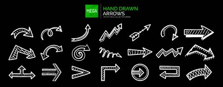 Set of hand drawn arrow icons, sketch direction, location, next, left right symbols and other. Vector illustration