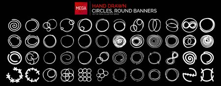 Hand drawn round frames, circles. Set of sketch icons, backgrounds