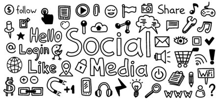 Social Media hand drawn icon set. Sketch of like, www, internet messaging concepts. Technology icons - click, wifi, shopping, light bulb, user and other Foto de archivo - 129170110
