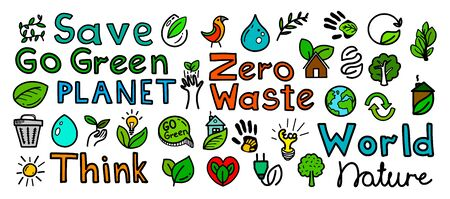 Hand drawn natural go green doodle icons 일러스트