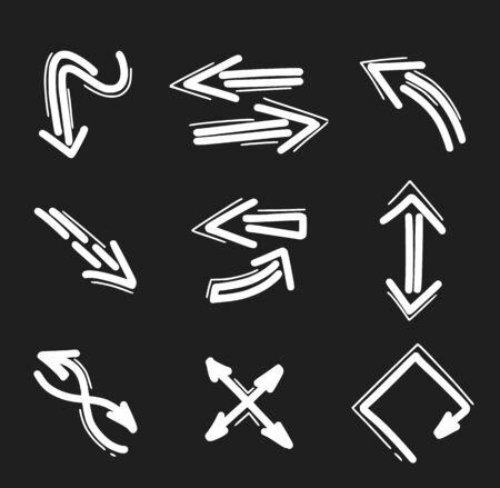 Set of hand drawn arrow icons. Arrows doodles design elements Ilustração