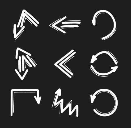 Set of hand drawn arrow icons. Arrows doodles design elements Stock Illustratie
