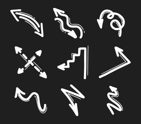 Set of hand drawn arrow icons. Arrows doodles design elements Ilustracja