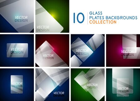 Transparent glass plate frame border background set
