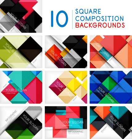 Set of business squares background design templates. Glossy shiny rectangle shapes with option infographic text or with promotion message Çizim