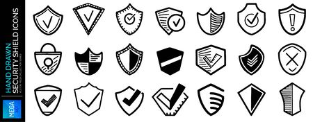 Hand drawn security shields icons, sketch of safety, defense confirmation marks Ilustração
