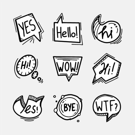 Set of hand drawn speech bubbles, clouds and balloons with some text. Social web internet icons, symbols, banners