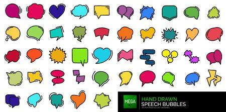 Set of hand drawn chat communication balloons, dialog speech bubbles Çizim