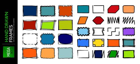 Hand drawn sketch doodle frames set, borders, square and rectangle shapes for text. Design elements collection