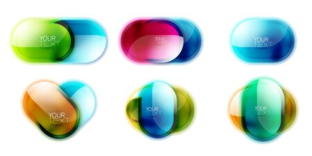 Set of shiny round glass button designs, glossy icons for your text. Frame or web box banners with 3d effect