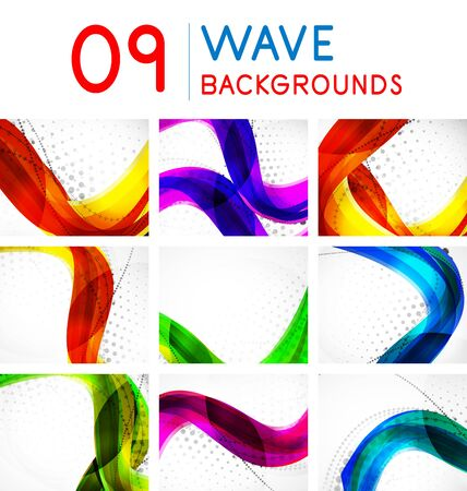 Set of vector wave line abstract backgrounds Banque d'images - 129846609