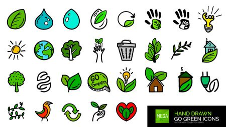 Hand drawn natural go green doodle icons 写真素材 - 129846610