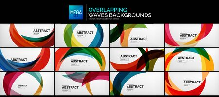 Set of color waves abstract background