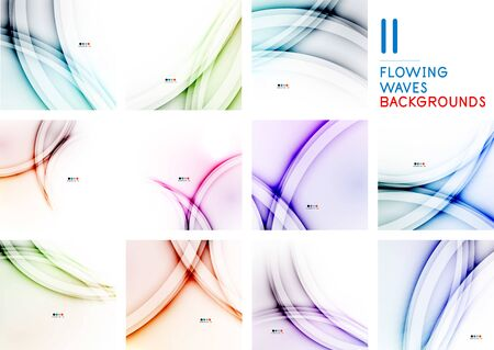 Set of wave line art patterns with flowing color wave backgrounds for web design. Blurred waves wallpapers, technology style banners.