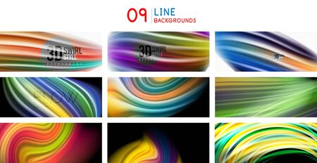 Set of spectrum flowing liquid color lines backgrounds. Flowing multicolored templates with wavy curve lines, dynamic trendy textures. Vector art