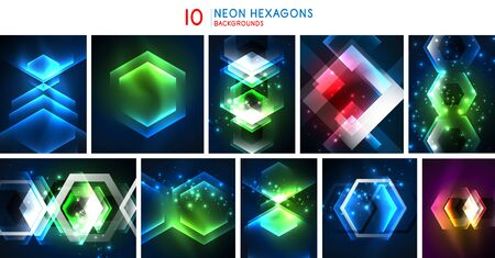 Set of hexagon glowing neon abstract backgrounds, light shapes in the black, futuristic space digital technology banners. Vector art Ilustracja