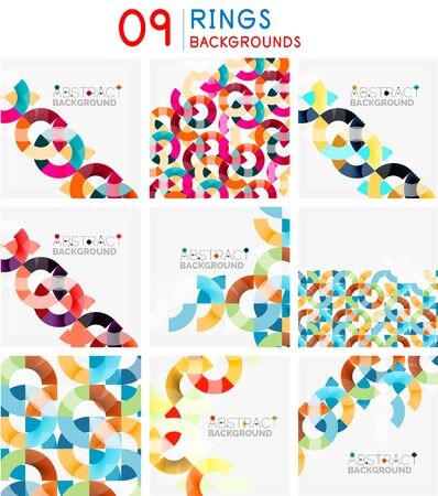 Set of mosaic abstract backgrounds, geometric patterns with triangle shapes and round elements
