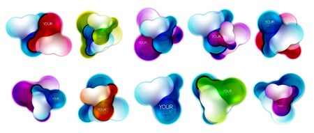 Set of circle shiny glass bubble abstract , or business banners for text, molecular shapes
