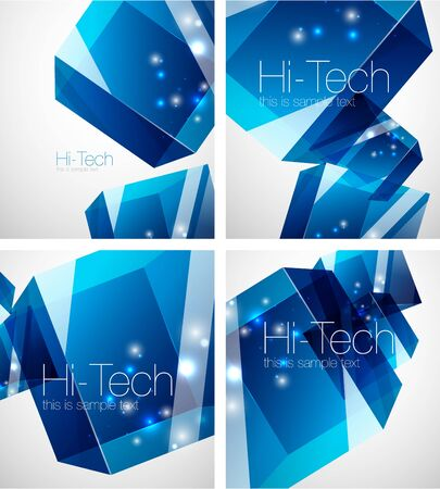 Glass blue cube technology abstract background set Illustration