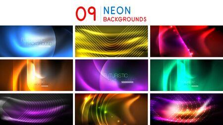 Set of shiny glowing backgrounds, neon graphic futuristic energy concepts, fluid color wave templates. Vector art Ilustração