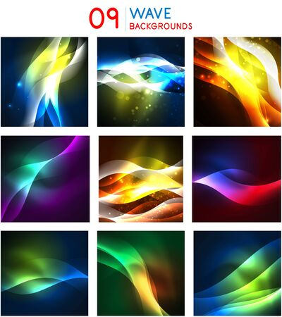 Set of techno geometric textures templates, neon shiny color abstract backgrounds