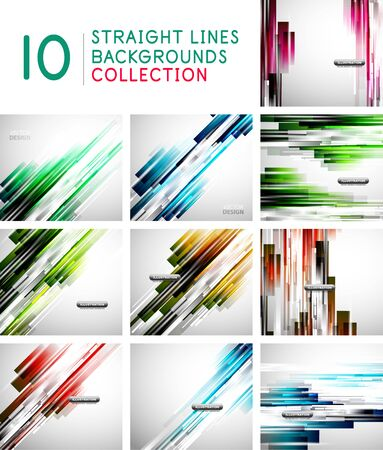 Set of straight lines abstract vector background