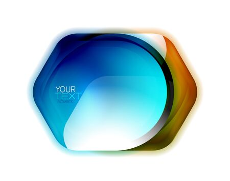 Glass safety, protection icon or banner for text. Shield badge background, color trasparent effect banner Imagens - 131128049