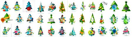 Set of Christmas and New Year design elements. Labels, buttons, tags, promotion banners and other templates. Snowflakes, Christmas pine trees and other holiday icons with place for text and buttons. 向量圖像