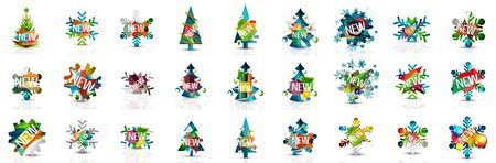 Set of Christmas and New Year holiday banners. Labels, stickers, discount and price tags, holiday icons with Christmas trees, snowflakes. Minimal geometric abstract symbols. Vector art 向量圖像