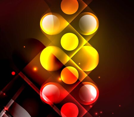 Light neon glow circles background, bright banner with shiny round shapes and electric effects. 向量圖像