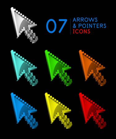 Set of metallic mouse pointers, arrow cursor icons Иллюстрация