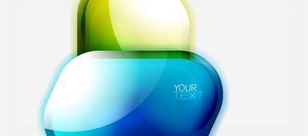 Glass bubble shiny shapes abstract background