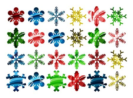 Minimal design abstract snowflakes icons