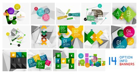Paper infographics option geometric design set 向量圖像