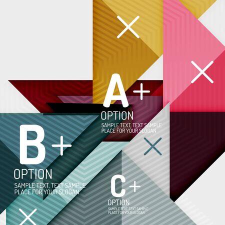 Infografía con pasos abc, diagrama de diseño de flujo de trabajo de opciones, formas geométricas triangulares. Arte vectorial