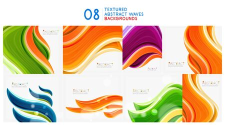 Set of textured waves abstract backgrounds