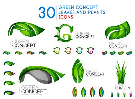 Set of green leaves, plant branding business concepts
