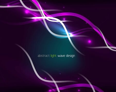 Glowing neon wave lines flowing motion background. Wave energy in black color, fractal design. Vector magic illustration
