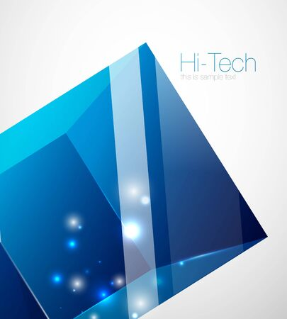 Glass blue cube technology background, hi-tech futuristic abstract techno template