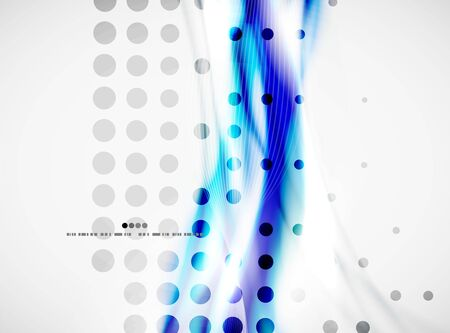 Smooth blue wave lines background with dotted texture, business or hi-tech template. Vector design