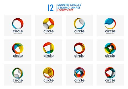Set of circle abstract design  round vector design templates, internet icons with twist or spiral effect