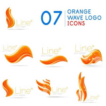 Set of orange color wave   templates 向量圖像