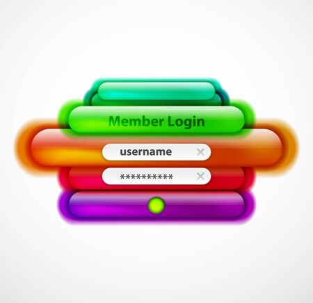 Login menu web interface template with buttons and sample text. Modern line style design page, user account password. Ui navigation vector art Stock Illustratie