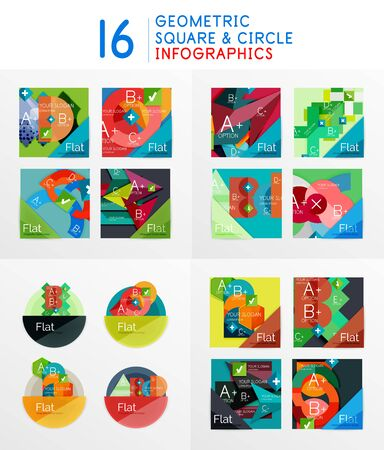 Set of geometric infographics created with triangles, squares and other elements. Modern abstract diagram compositions with options, workflow steps