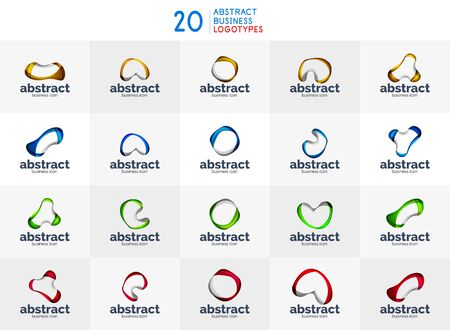 Set of abstract flowing logos, business branding line logotypes