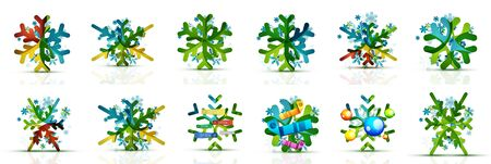 Set of geometric snowflakes, Christmas web banners or buttons with winter holiday design elements. New Year and Christmas concepts Çizim