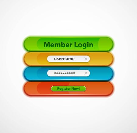 Login menu web interface template with buttons and sample text. Modern line style design page, user account password. Ui navigation vector art