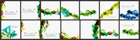 Set of triangle geometric background design templates Ilustracja