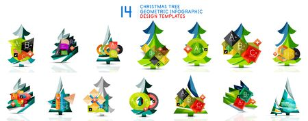 Christmas tree geometric infographic design templates collection Çizim